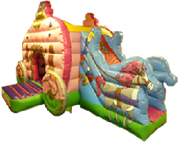 A jungle-themed inflatable